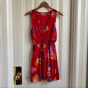 Everly Red Floral Print Summer Dress